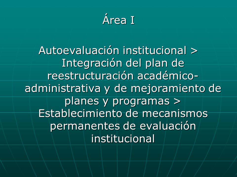 Área I Autoevaluación institucional > Integración del plan de reestructuración académico- administrativa y de mejoramiento de planes y programas > Est