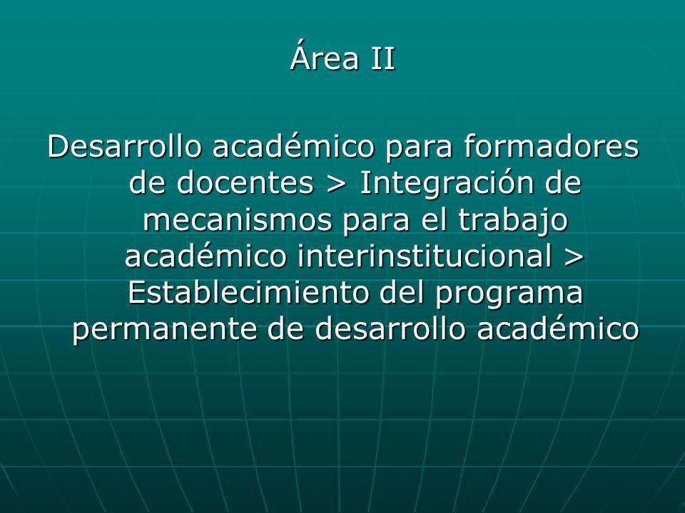 Área II Desarrollo académico para formadores de docentes > Integración de mecanismos para el trabajo académico interinstitucional > Establecimiento de
