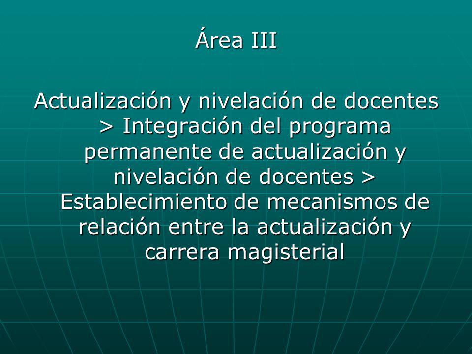 Área III Actualización y nivelación de docentes > Integración del programa permanente de actualización y nivelación de docentes > Establecimiento de m