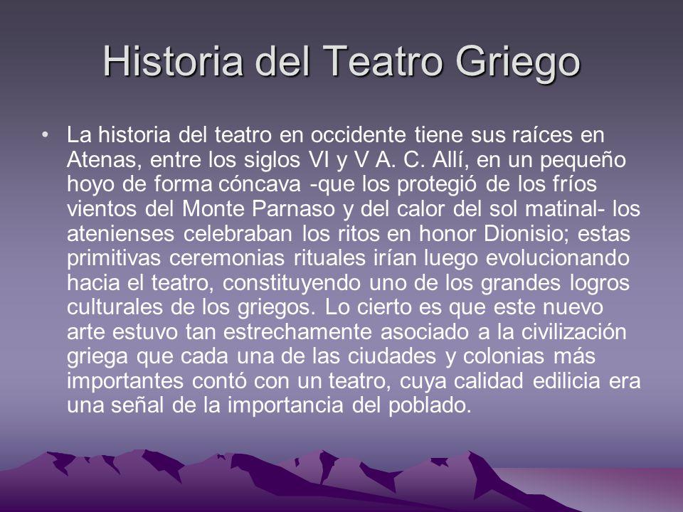 Historia del Teatro Griego La historia del teatro en occidente tiene sus raíces en Atenas, entre los siglos VI y V A. C. Allí, en un pequeño hoyo de f