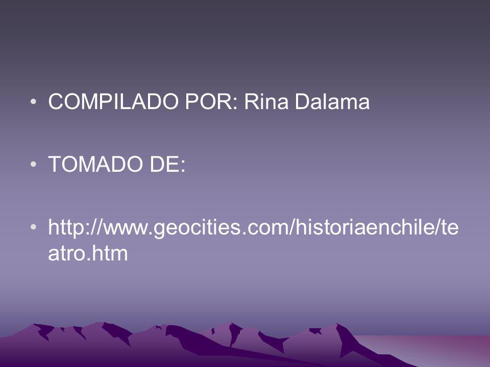 COMPILADO POR: Rina Dalama TOMADO DE: http://www.geocities.com/historiaenchile/te atro.htm
