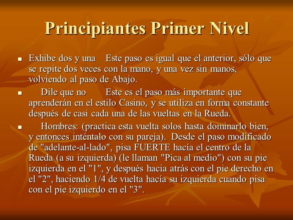 Principiantes Primer Nivel Exhibe dos y unaEste paso es igual que el anterior, sólo que se repite dos veces con la mano, y una vez sin manos, volviendo al paso de Abajo.