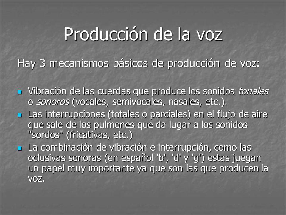 Producción de la voz Hay 3 mecanismos básicos de producción de voz: Vibración de las cuerdas que produce los sonidos tonales o sonoros (vocales, semiv