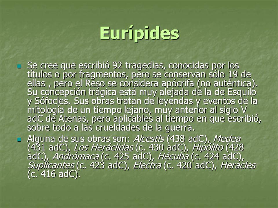 Eurípides Se cree que escribió 92 tragedias, conocidas por los títulos o por fragmentos, pero se conservan sólo 19 de ellas, pero el Reso se considera
