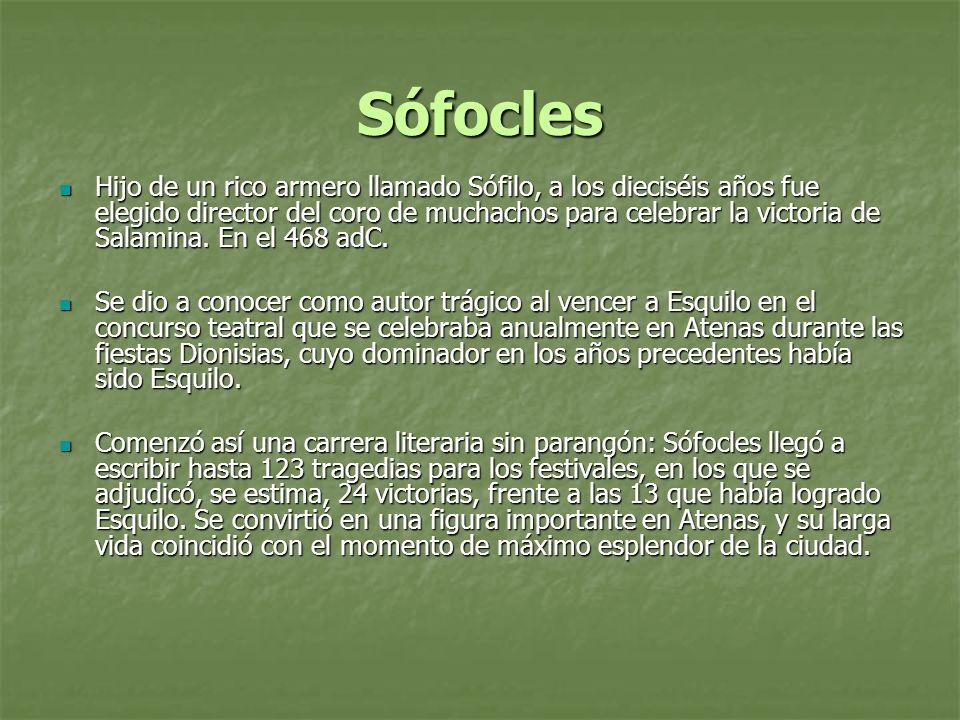 Sófocles A Sófocles se deben la introducción de un tercer actor en la escena, lo que daba mayor juego al diálogo, y el hecho de dotar de complejidad psicológica al héroe de la obra.