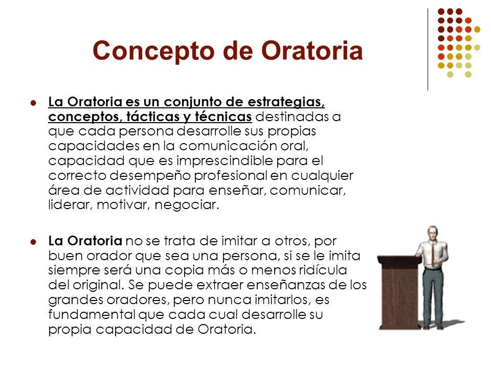 Concepto de Oratoria La Oratoria es un conjunto de estrategias, conceptos, tácticas y técnicas destinadas a que cada persona desarrolle sus propias ca