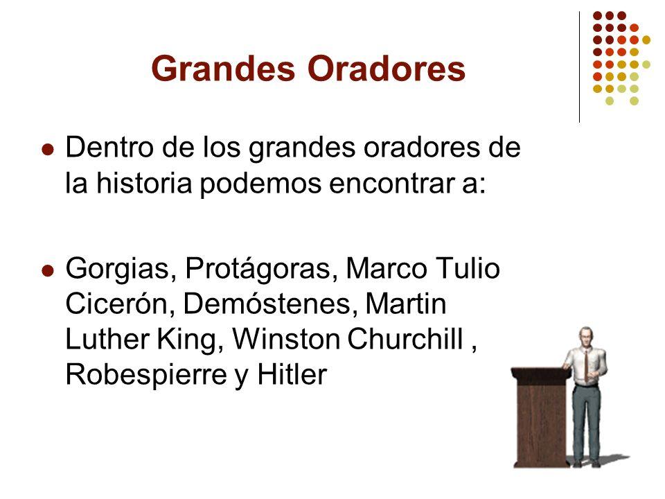 Grandes Oradores Dentro de los grandes oradores de la historia podemos encontrar a: Gorgias, Protágoras, Marco Tulio Cicerón, Demóstenes, Martin Luthe