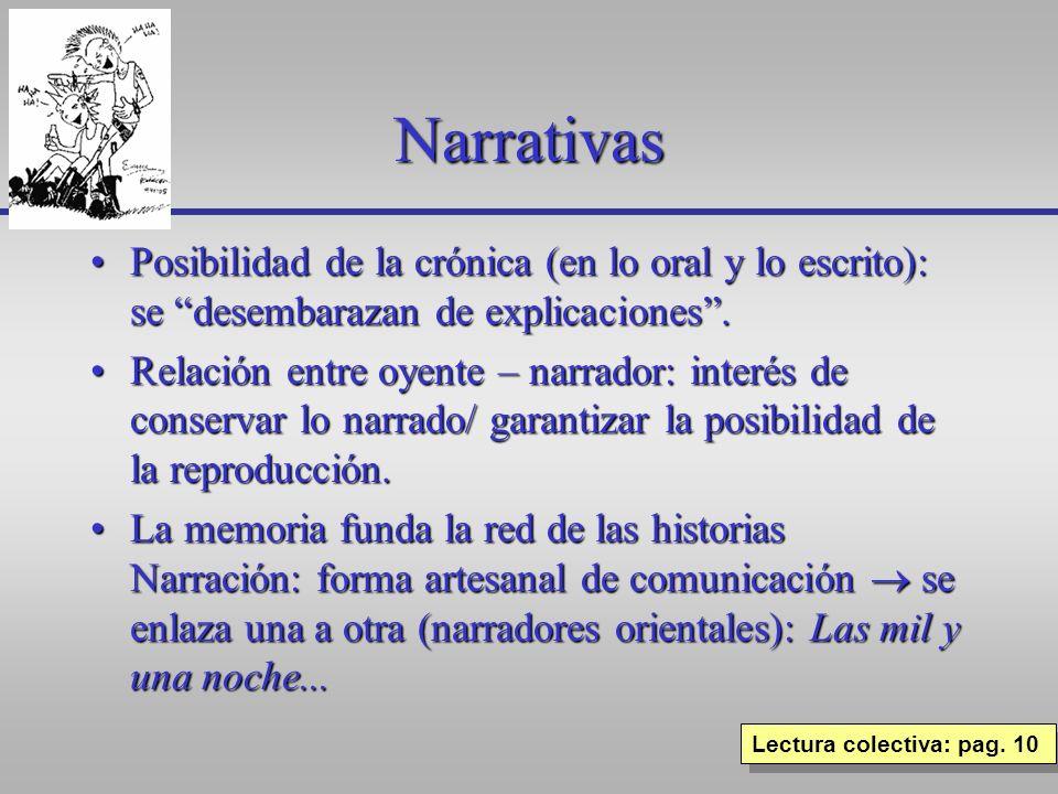 Narrativas Posibilidad de la crónica (en lo oral y lo escrito): se desembarazan de explicaciones.Posibilidad de la crónica (en lo oral y lo escrito):