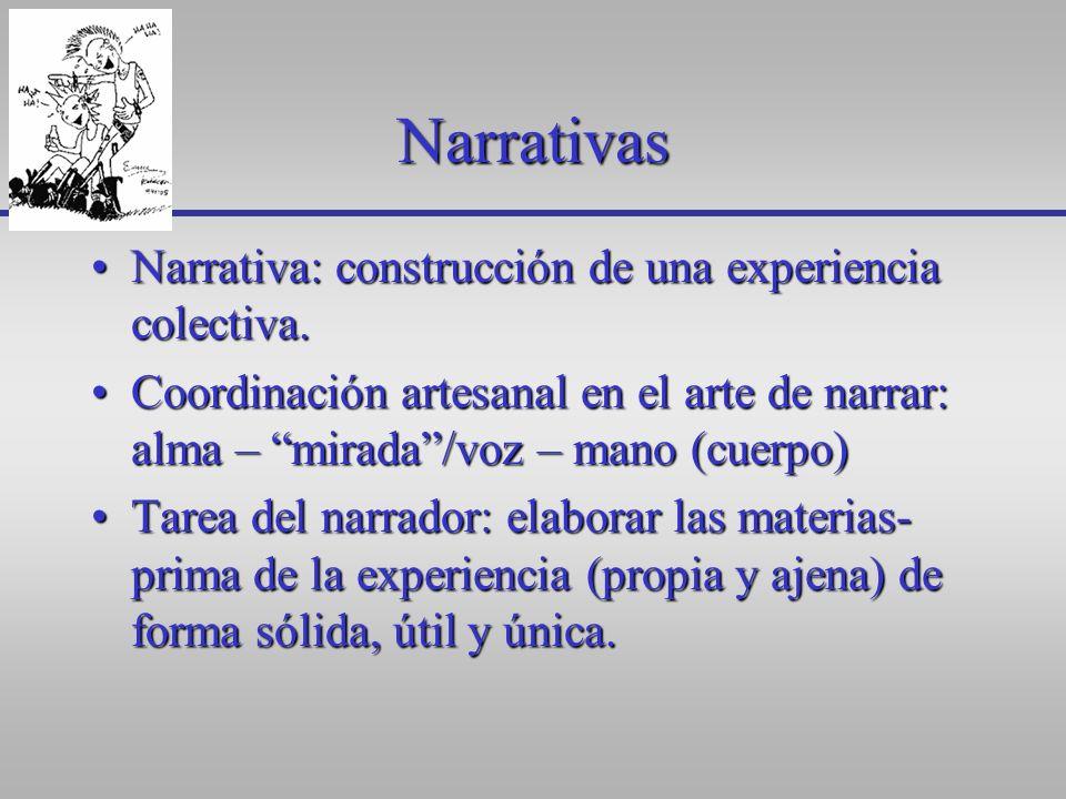 Narrativas Narrativa: construcción de una experiencia colectiva.Narrativa: construcción de una experiencia colectiva. Coordinación artesanal en el art
