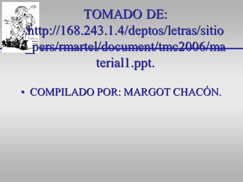 TOMADO DE: http://168.243.1.4/deptos/letras/sitio _pers/rmartel/document/tmc2006/ma terial1.ppt. COMPILADO POR: MARGOT CHACÓN.COMPILADO POR: MARGOT CH