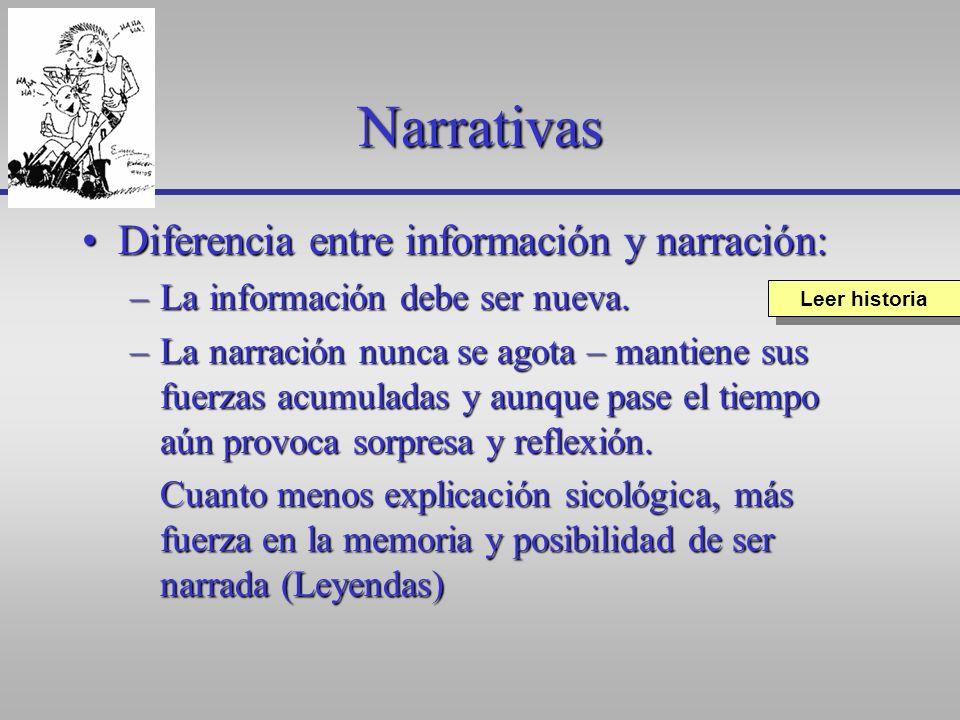 Narrativas Diferencia entre información y narración:Diferencia entre información y narración: –La información debe ser nueva. –La narración nunca se a