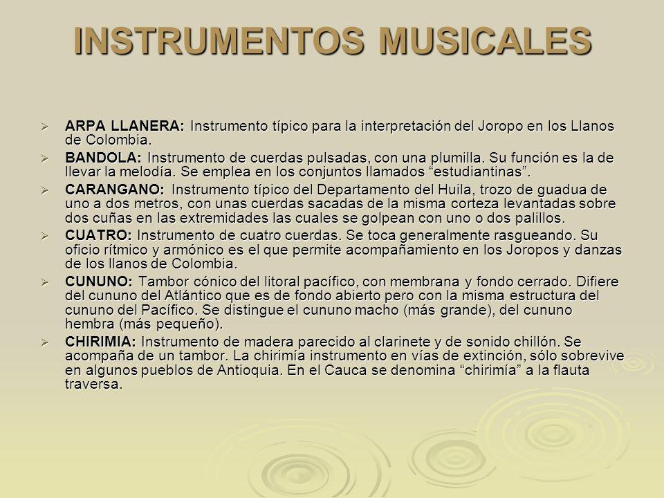 INSTRUMENTOS MUSICALES ARPA LLANERA: Instrumento típico para la interpretación del Joropo en los Llanos de Colombia. ARPA LLANERA: Instrumento típico