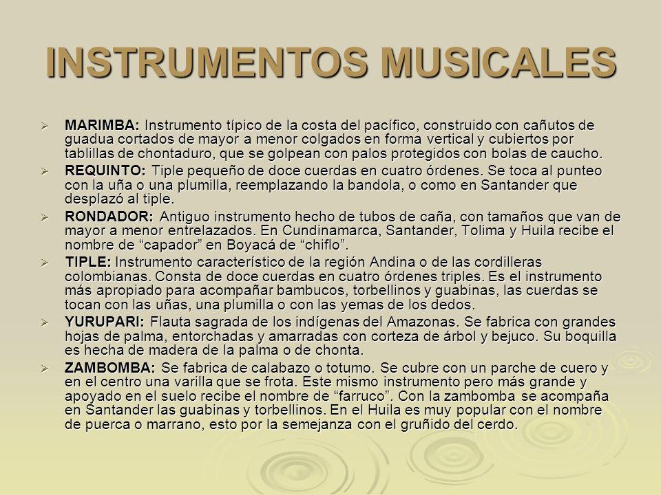 INSTRUMENTOS MUSICALES MARIMBA: Instrumento típico de la costa del pacífico, construido con cañutos de guadua cortados de mayor a menor colgados en fo