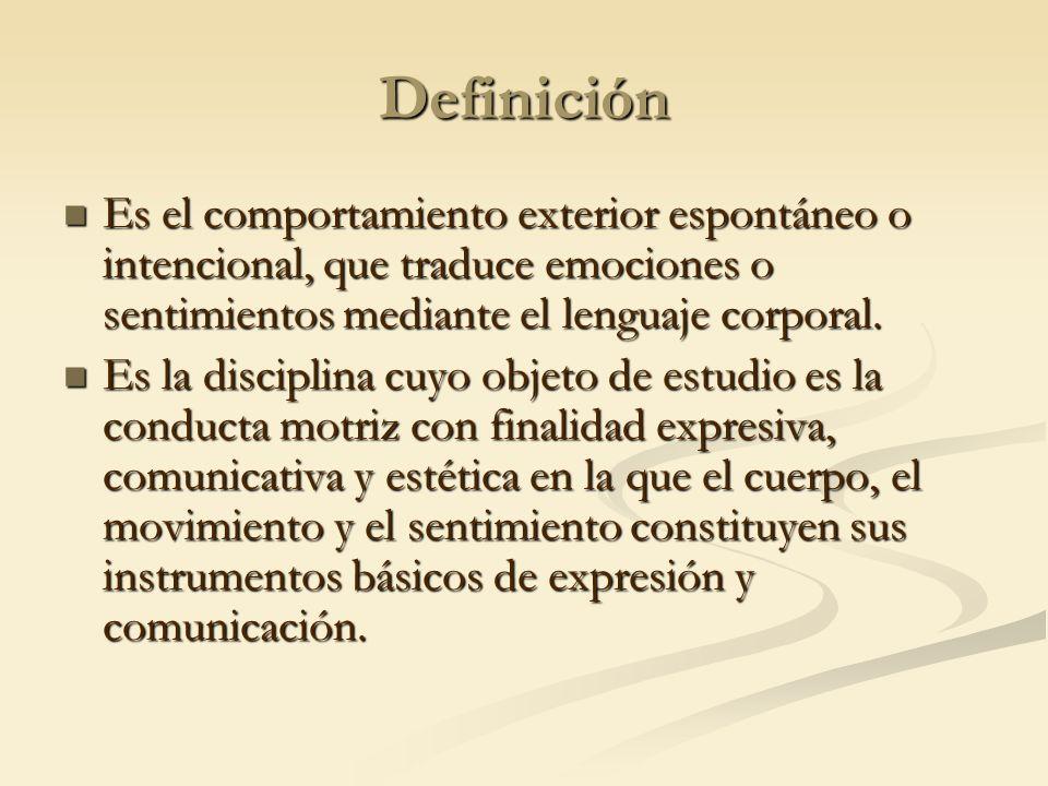 Definición Es el comportamiento exterior espontáneo o intencional, que traduce emociones o sentimientos mediante el lenguaje corporal. Es el comportam