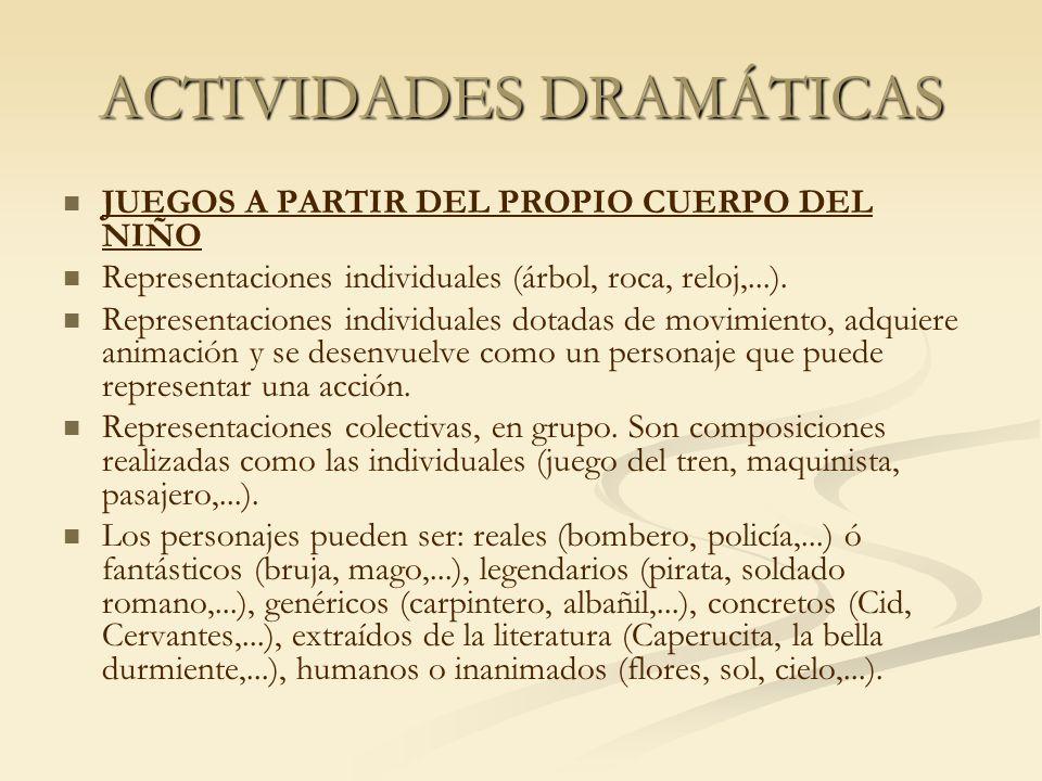 ACTIVIDADES DRAMÁTICAS JUEGOS A PARTIR DEL PROPIO CUERPO DEL NIÑO Representaciones individuales (árbol, roca, reloj,...). Representaciones individuale