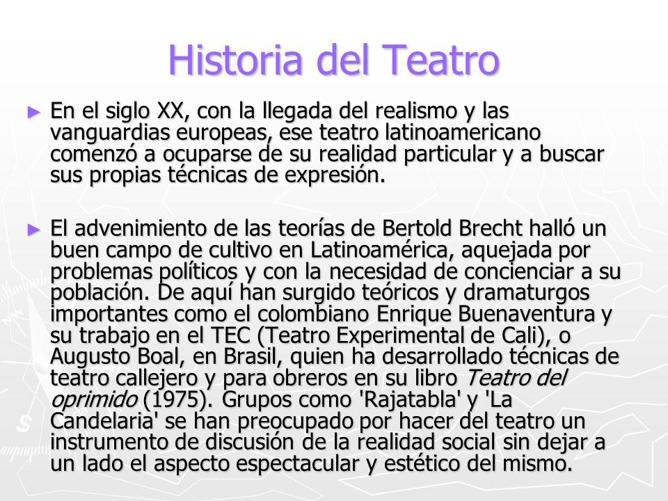 Historia del Teatro En el siglo XX, con la llegada del realismo y las vanguardias europeas, ese teatro latinoamericano comenzó a ocuparse de su realid