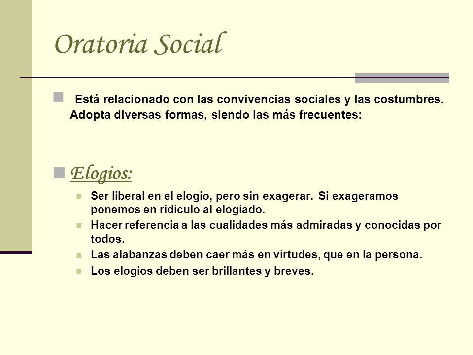 Oratoria Social Está relacionado con las convivencias sociales y las costumbres. Adopta diversas formas, siendo las más frecuentes: Elogios: Ser liber