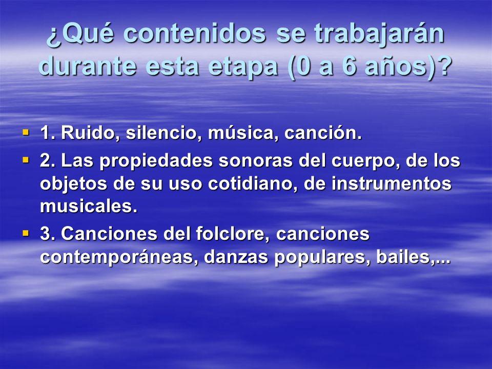 ¿Qué contenidos se trabajarán durante esta etapa (0 a 6 años)? 1. Ruido, silencio, música, canción. 1. Ruido, silencio, música, canción. 2. Las propie