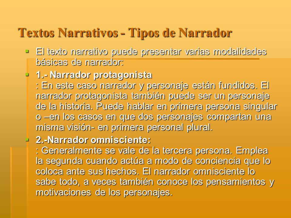 Textos Narrativos - Tipos de Narrador El texto narrativo puede presentar varias modalidades básicas de narrador: El texto narrativo puede presentar va