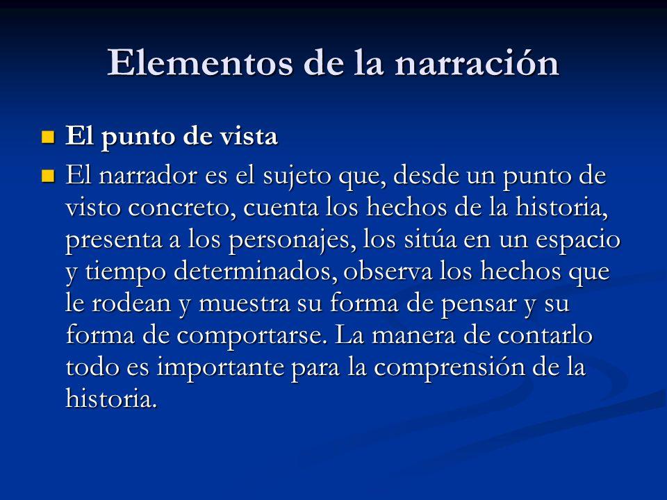 Elementos de la narración El punto de vista El punto de vista El narrador es el sujeto que, desde un punto de visto concreto, cuenta los hechos de la