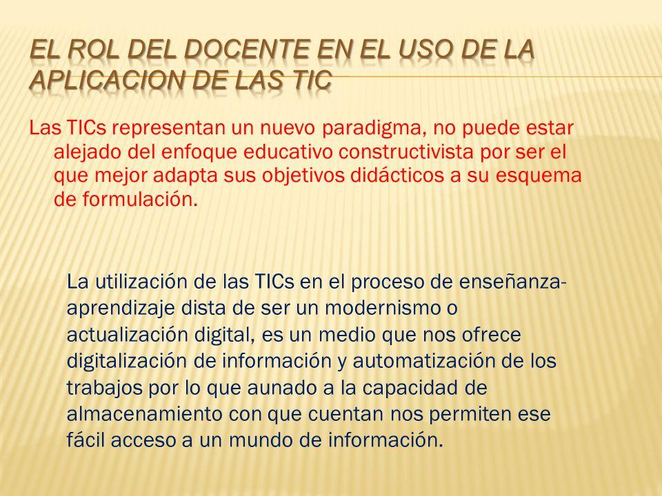Las TICs representan un nuevo paradigma, no puede estar alejado del enfoque educativo constructivista por ser el que mejor adapta sus objetivos didácticos a su esquema de formulación.