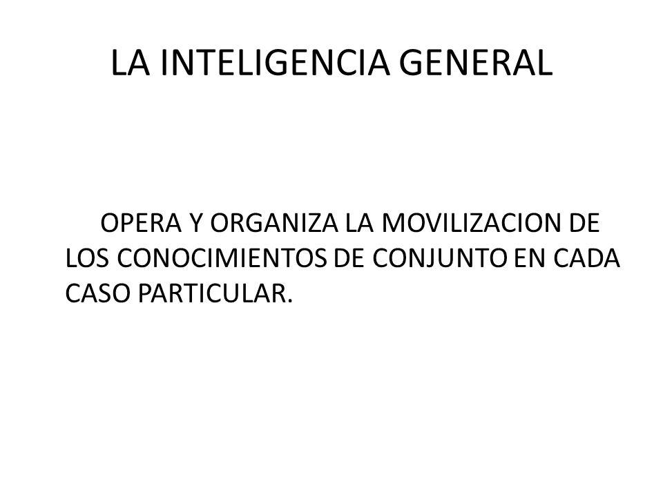 LA INTELIGENCIA GENERAL OPERA Y ORGANIZA LA MOVILIZACION DE LOS CONOCIMIENTOS DE CONJUNTO EN CADA CASO PARTICULAR.
