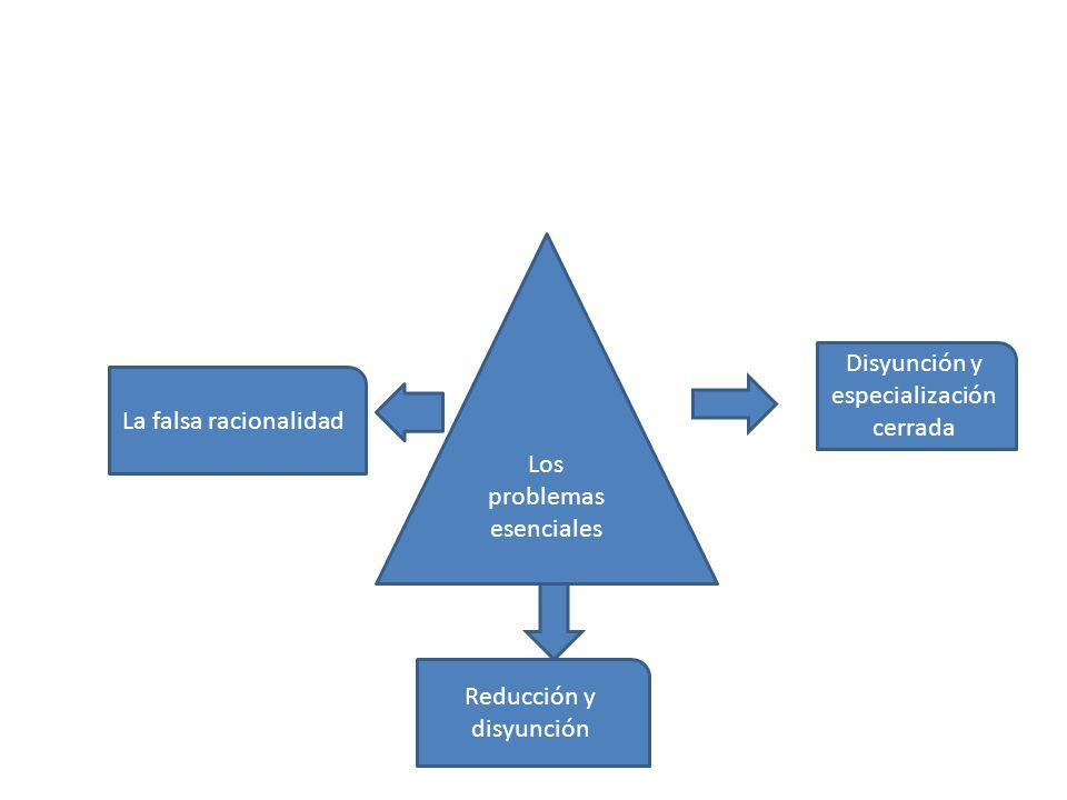 DISYUNCION Y ESPECIALIZACION CERRADA La cultura científica y técnica disciplinaria evita la contextualización de la información, mientras que la cultura general la busca.