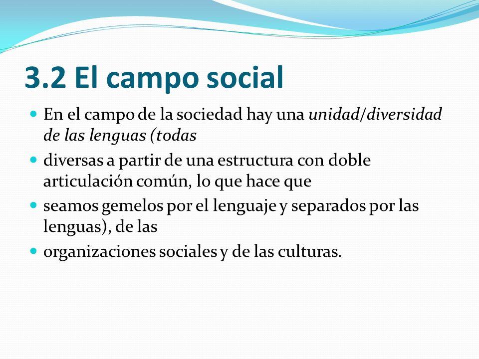 3.2 El campo social En el campo de la sociedad hay una unidad/diversidad de las lenguas (todas diversas a partir de una estructura con doble articulac