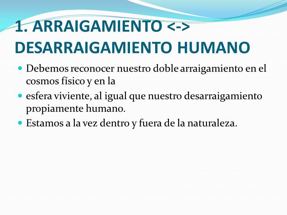 1. ARRAIGAMIENTO DESARRAIGAMIENTO HUMANO Debemos reconocer nuestro doble arraigamiento en el cosmos físico y en la esfera viviente, al igual que nuest