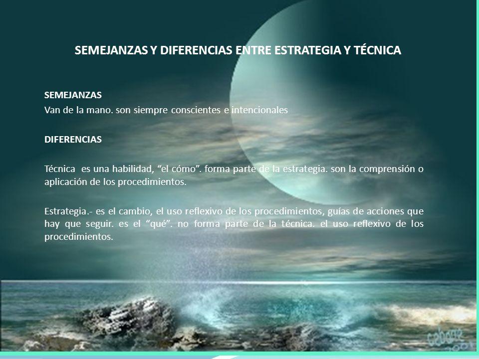 SEMEJANZAS Y DIFERENCIAS ENTRE ESTRATEGIA Y TÉCNICA SEMEJANZAS Van de la mano.