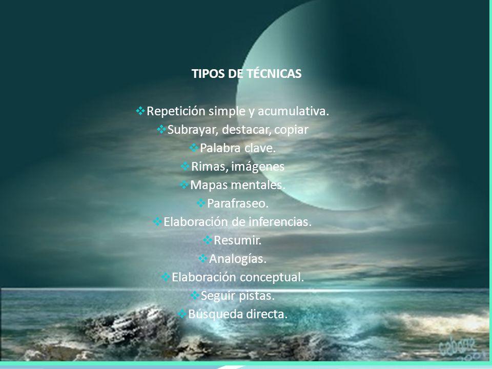 TIPOS DE TÉCNICAS Repetición simple y acumulativa.
