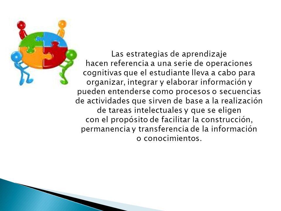 Las estrategias de aprendizaje hacen referencia a una serie de operaciones cognitivas que el estudiante lleva a cabo para organizar, integrar y elabor