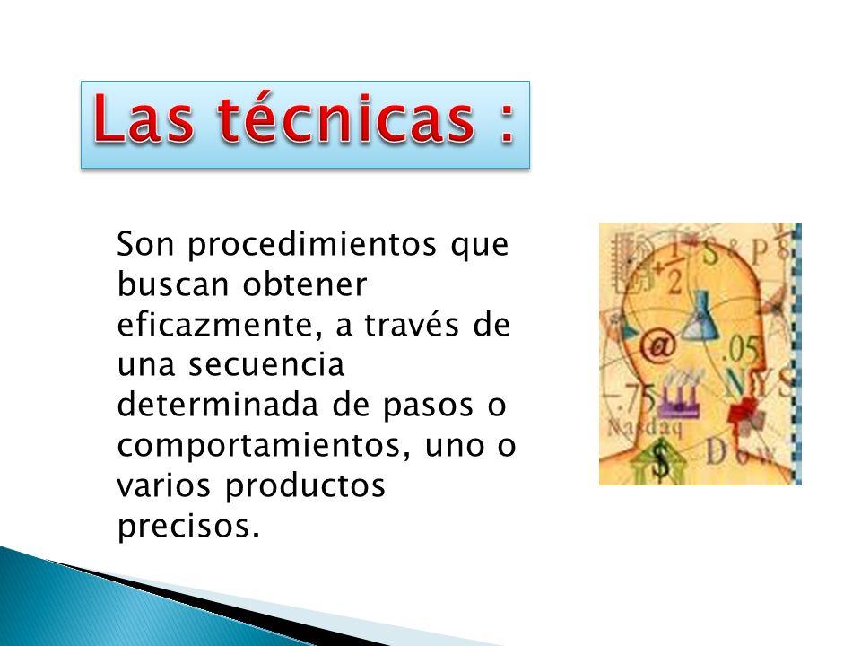 Son procedimientos que buscan obtener eficazmente, a través de una secuencia determinada de pasos o comportamientos, uno o varios productos precisos.