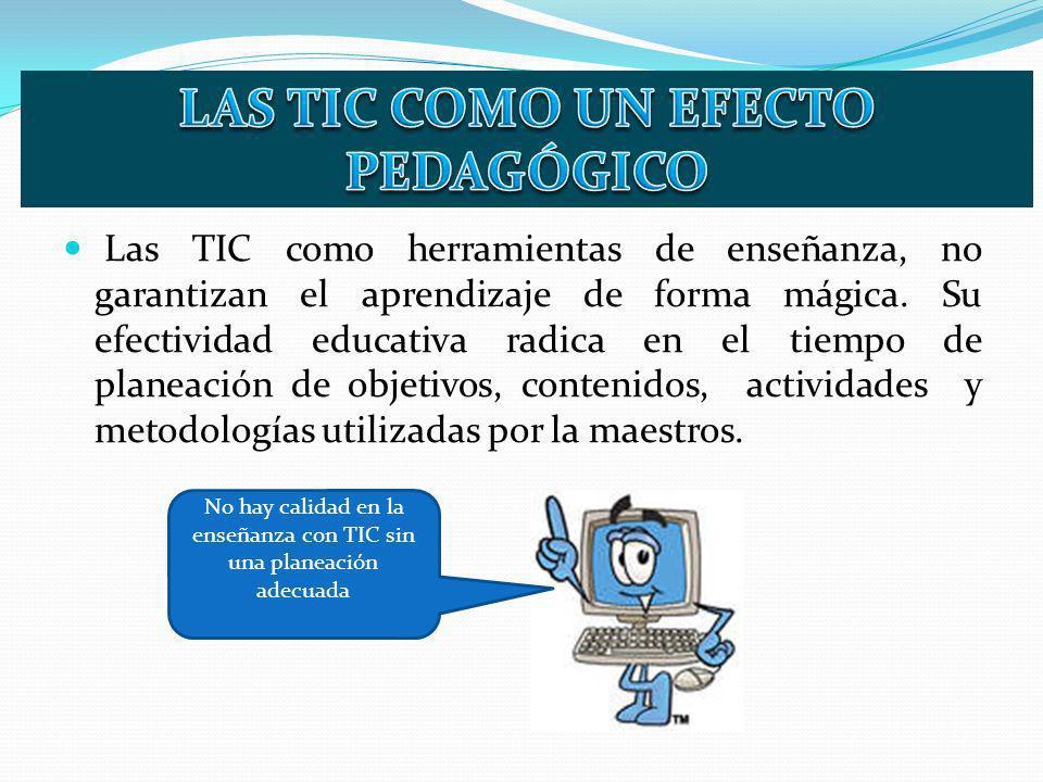 Las TIC como herramientas de enseñanza, no garantizan el aprendizaje de forma mágica. Su efectividad educativa radica en el tiempo de planeación de ob