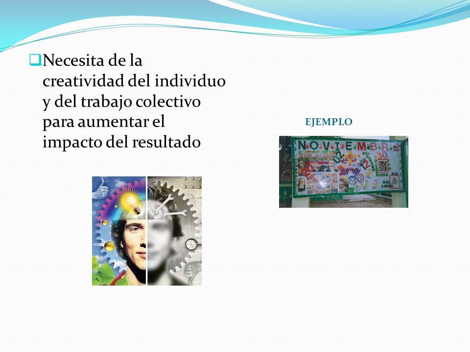 EJEMPLO Necesita de la creatividad del individuo y del trabajo colectivo para aumentar el impacto del resultado