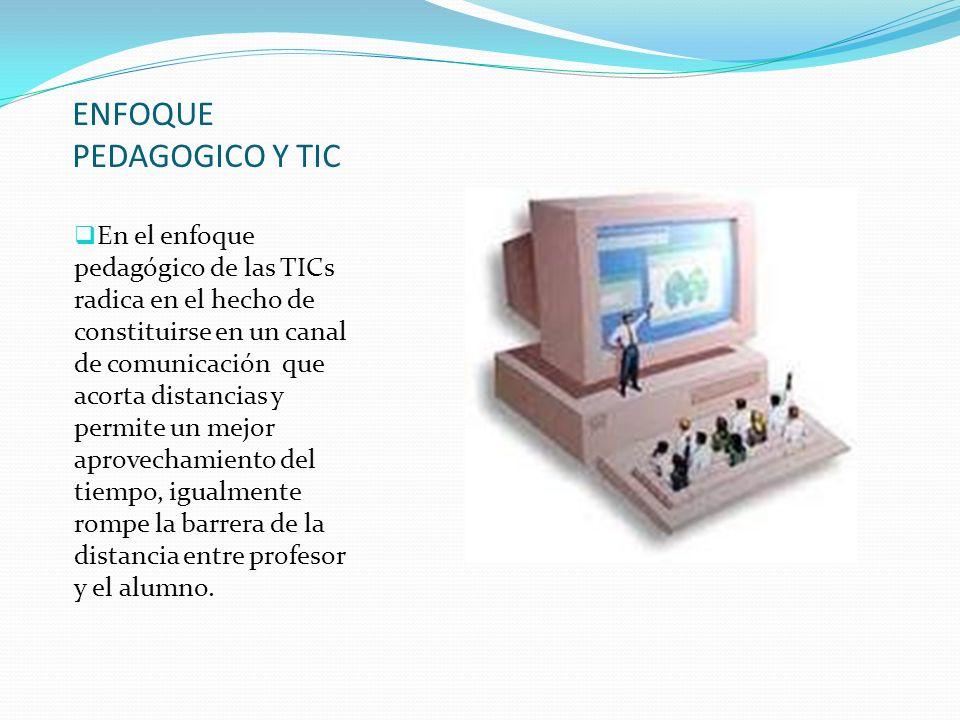 ENFOQUE PEDAGOGICO Y TIC En el enfoque pedagógico de las TICs radica en el hecho de constituirse en un canal de comunicación que acorta distancias y p