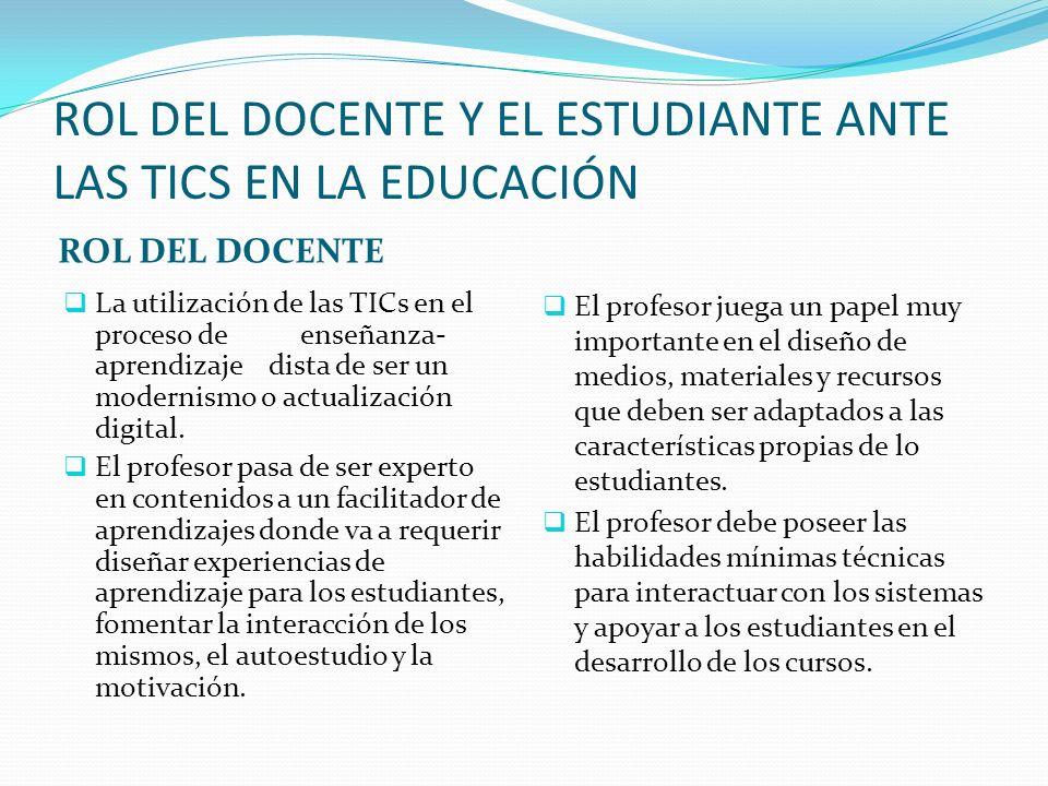 ROL DEL DOCENTE Y EL ESTUDIANTE ANTE LAS TICS EN LA EDUCACIÓN ROL DEL DOCENTE La utilización de las TICs en el proceso de enseñanza- aprendizaje dista