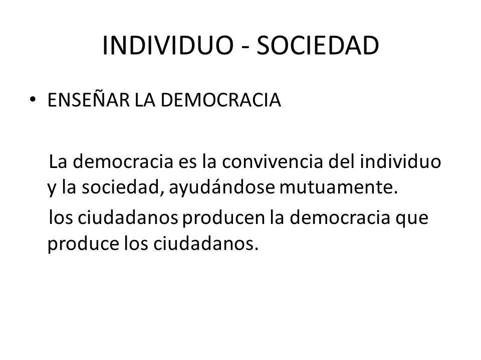 INDIVIDUO - SOCIEDAD ENSEÑAR LA DEMOCRACIA La democracia es la convivencia del individuo y la sociedad, ayudándose mutuamente. los ciudadanos producen