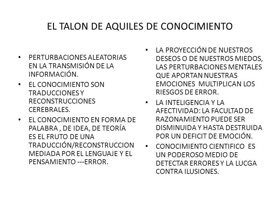 EL TALON DE AQUILES DE CONOCIMIENTO PERTURBACIONES ALEATORIAS EN LA TRANSMISIÓN DE LA INFORMACIÓN.