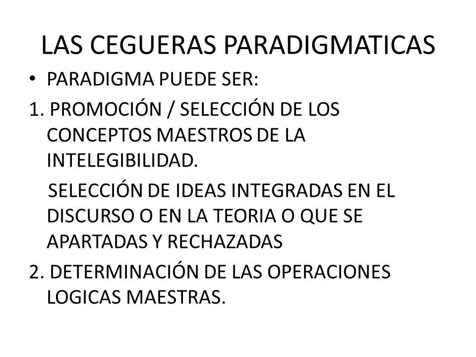 LAS CEGUERAS PARADIGMATICAS PARADIGMA PUEDE SER: 1. PROMOCIÓN / SELECCIÓN DE LOS CONCEPTOS MAESTROS DE LA INTELEGIBILIDAD. SELECCIÓN DE IDEAS INTEGRAD