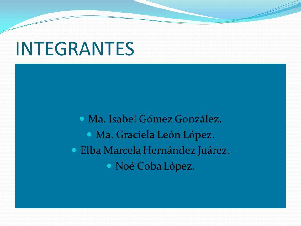 INTEGRANTES Ma. Isabel Gómez González. Ma. Graciela León López. Elba Marcela Hernández Juárez. Noé Coba López.