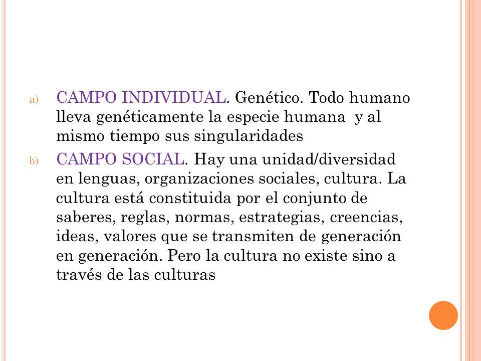 a) CAMPO INDIVIDUAL. Genético. Todo humano lleva genéticamente la especie humana y al mismo tiempo sus singularidades b) CAMPO SOCIAL. Hay una unidad/