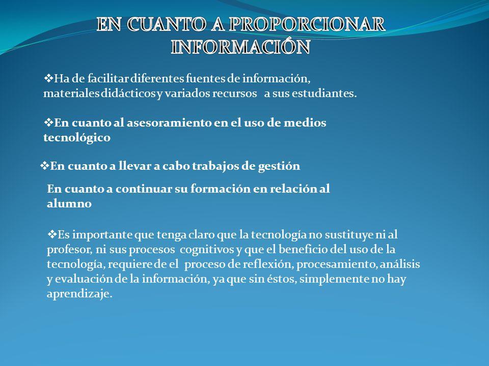 Ha de facilitar diferentes fuentes de información, materiales didácticos y variados recursos a sus estudiantes.