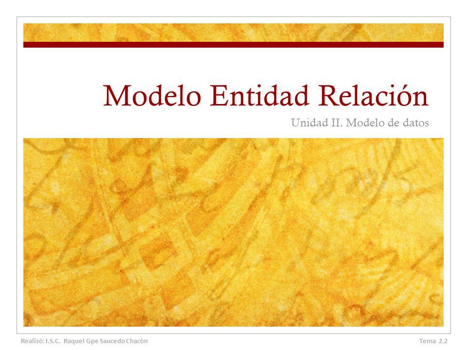 Modelo Entidad Relación Unidad II. Modelo de datos Tema 2.2 Realizó: I.S.C. Raquel Gpe Saucedo Chacòn