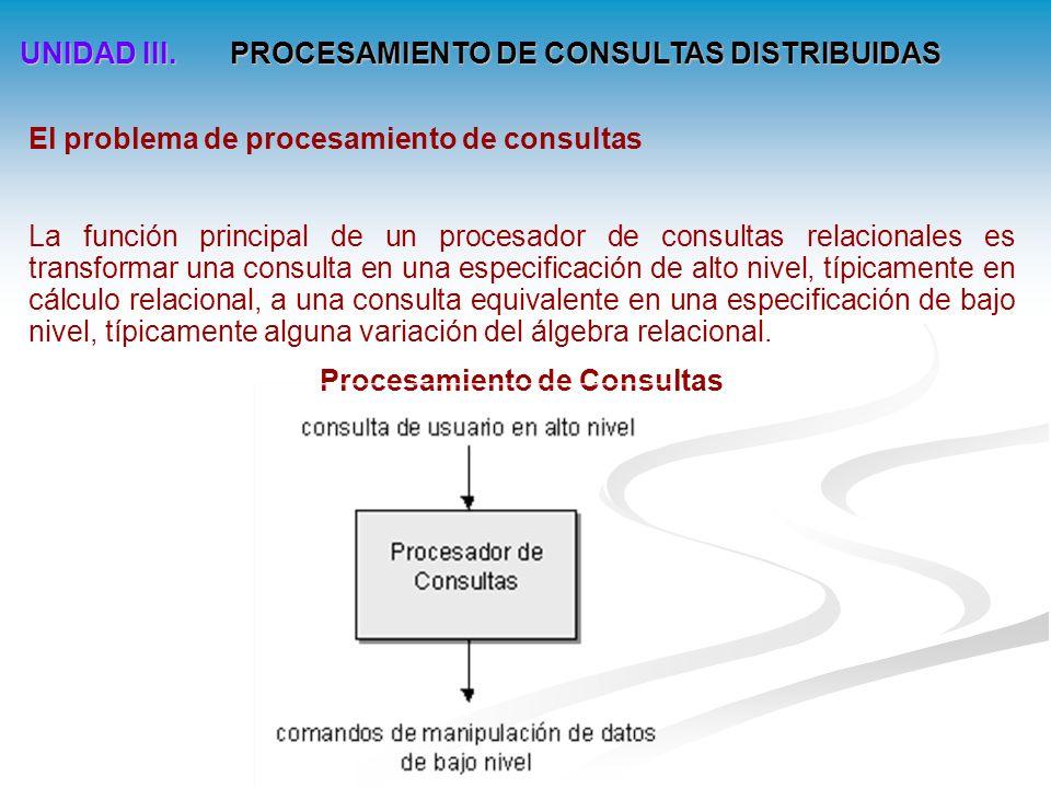 UNIDAD III.PROCESAMIENTO DE CONSULTAS DISTRIBUIDAS Descomposición de consultas 1.