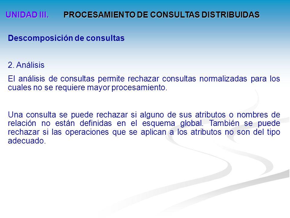UNIDAD III.PROCESAMIENTO DE CONSULTAS DISTRIBUIDAS Descomposición de consultas 2.