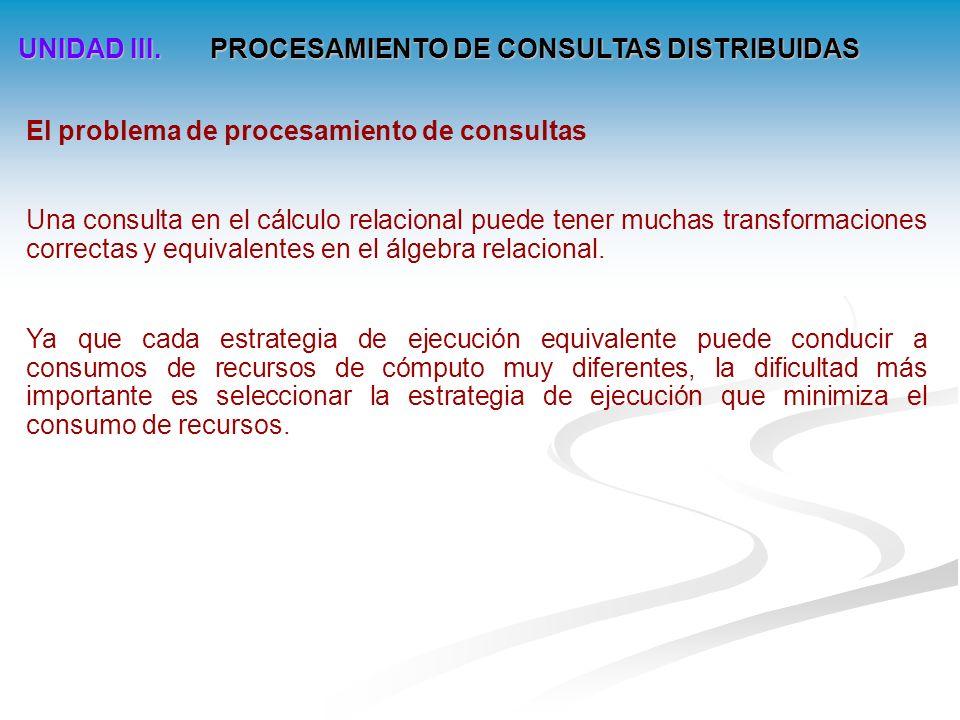 UNIDAD III. PROCESAMIENTO DE CONSULTAS DISTRIBUIDAS Arquitectura del procesamiento de consultas