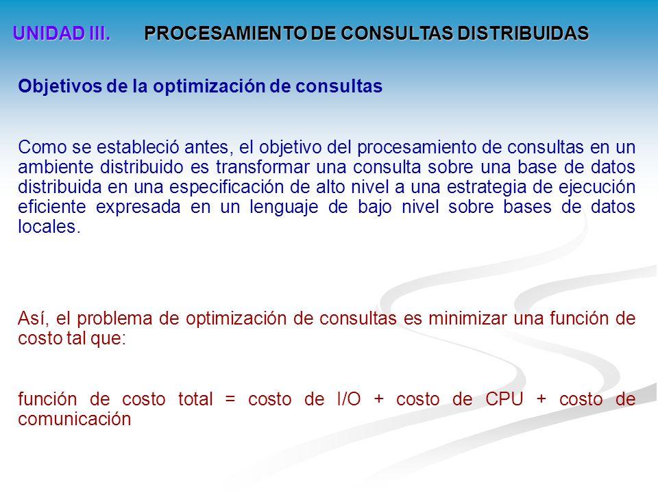 UNIDAD III.PROCESAMIENTO DE CONSULTAS DISTRIBUIDAS Descomposición de consultas 3.