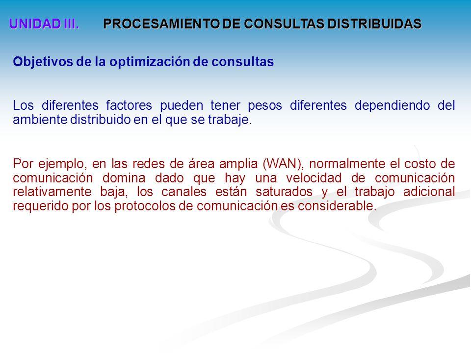UNIDAD III.PROCESAMIENTO DE CONSULTAS DISTRIBUIDAS Descomposición de consultas 4.