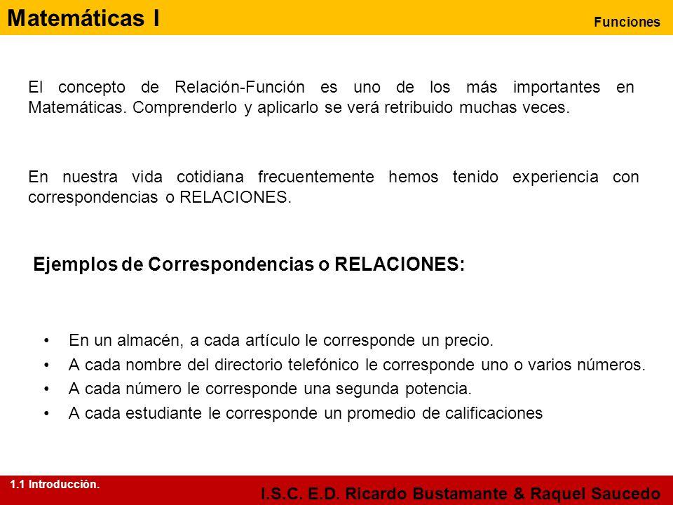Matemáticas I Funciones I.S.C. E.D. Ricardo Bustamante & Raquel Saucedo El concepto de Relación-Función es uno de los más importantes en Matemáticas.